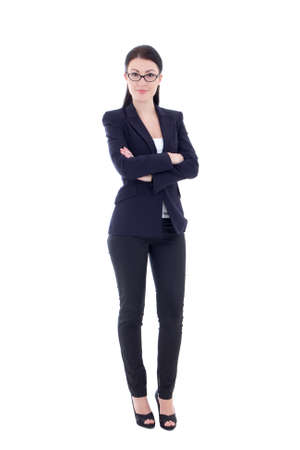 woman full body: young attractive business woman isolated on white background