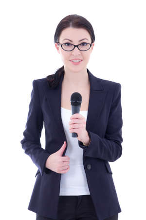young beautiful female journalist with microphone isolated on white background