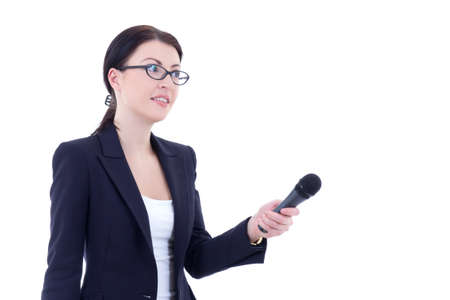 female reporter with microphone isolated on white background