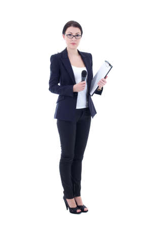 female reporter with microphone and clipboard isolated on white background photo