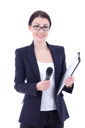 portrait of female journalist with microphone and clipboard isolated on white background photo