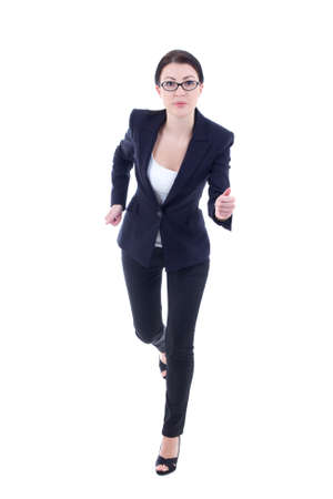 running young business woman in suit isolated on white background photo