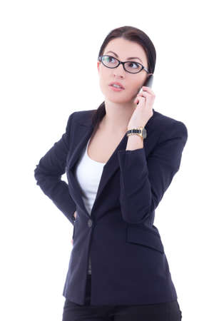young businesswoman calling on the mobile phone isolated on white background photo