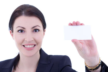 young beautiful businesswoman showing visiting card isolated on white background photo