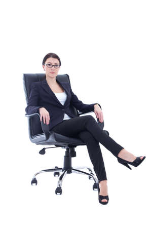 young businesswoman sitting on the chair isolated on white background photo