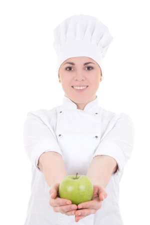 young attractive cook woman in uniform with green apple   isolated on white background photo
