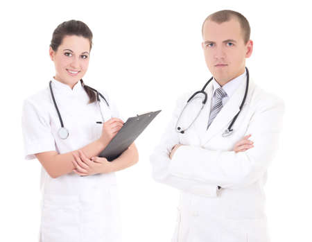 young male doctor and female nurse isolated on white background photo