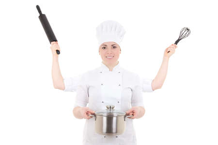 concept picture of attractive cook woman in uniform with four hands isolated on white background photo