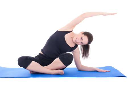 young beautiful woman stretching the muscles isolated on white background photo