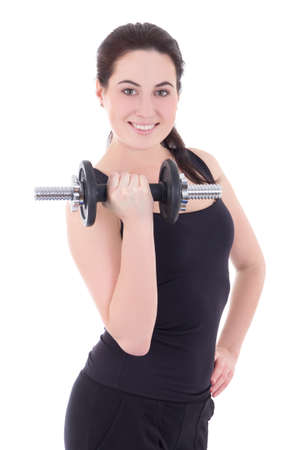 young attractive sporty woman smiling with dumbbell isolated on white background photo
