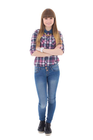 chicas adolescentes: adolescente aislada sobre fondo blanco