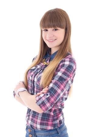 portrait of beautiful teenage girl isolated on white background photo