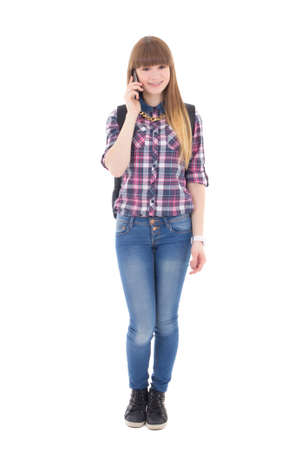 teenage girl with mobile phone isolated on white background photo
