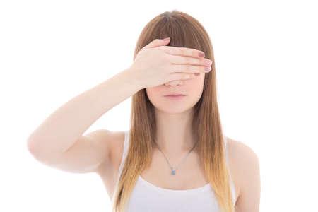 teenage girl with hand on eyes isolated on white background photo