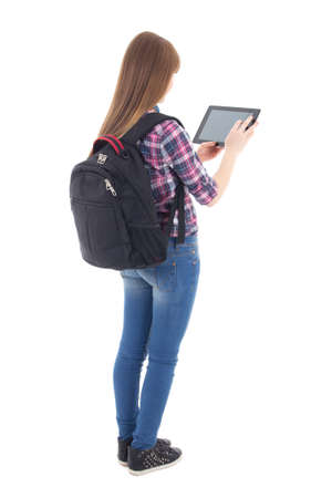 computer isolated: teenage girl using tablet computer isolated on white background Stock Photo