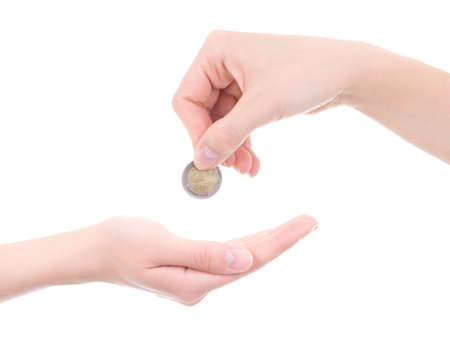 empty female palm and hand holding euro coin isolated on white  photo