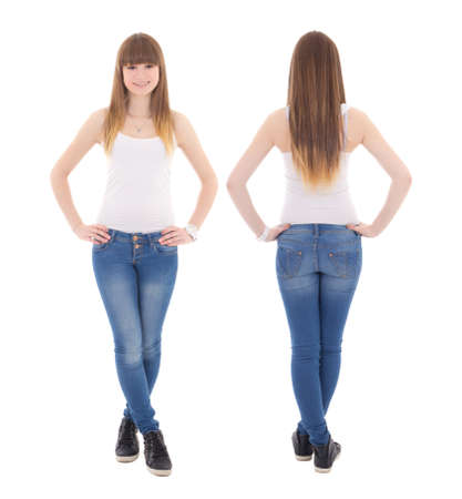 front and back view of teenage girl in white t-shirt isolated on white background photo