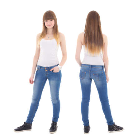 front and back view of cute teenage girl in white t-shirt isolated on white background photo