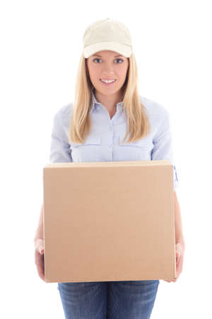 carboard box: delivery woman holding carboard box isolated on white background