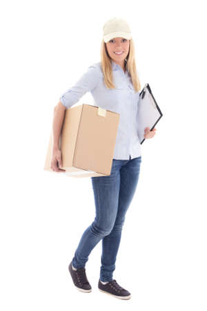 carboard box: female courier with carboard box isolated on white background