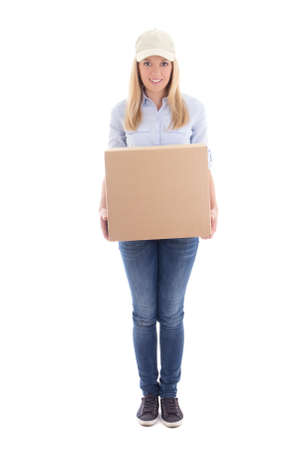delivery service: delivery woman with carboard box isolated on white background