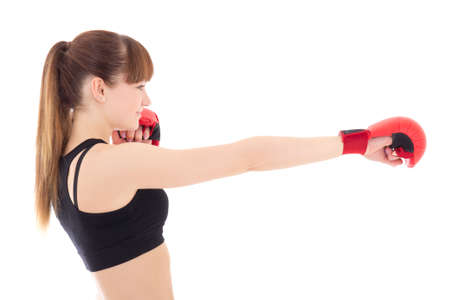 beautiful slim woman in boxing gloves isolated on white background photo