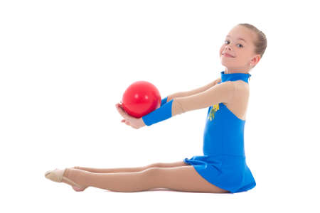 beautiful girl doing gymnastics with ball isolated on white background photo