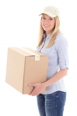 carboard box: young delivery woman holding carboard box isolated on white background Stock Photo