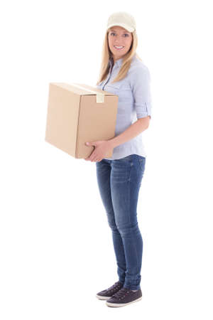 carboard box: post delivery woman holding carboard box isolated on white background