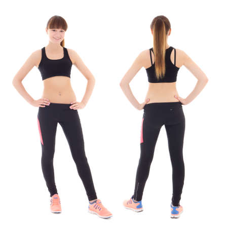 front and back view of young woman in sports wear isolated on white background photo