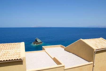 terrace with sea view on Crete island in Greece photo