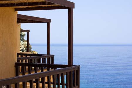 balcony with beautiful sea view on Crete island in Greece photo