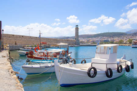fishing boats in old port in Rethymno, Greece photo