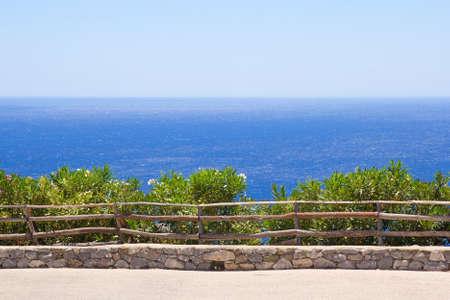 promenade with beautiful sea view on Crete island in Greece photo
