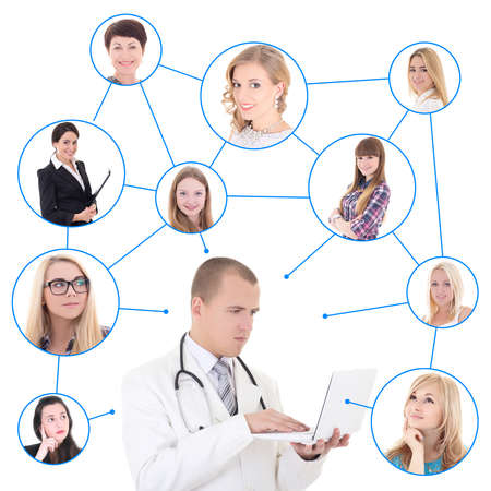 social network concept - young male doctor with laptop and his patients isolated on white background photo