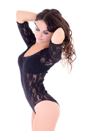 elegant girl: portrait of young woman in black lace lingerie isolated on white background
