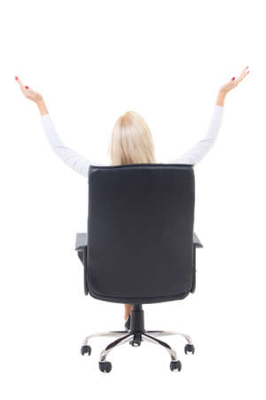 back view of business woman sitting in office chair and celebrating success isolated on white background photo