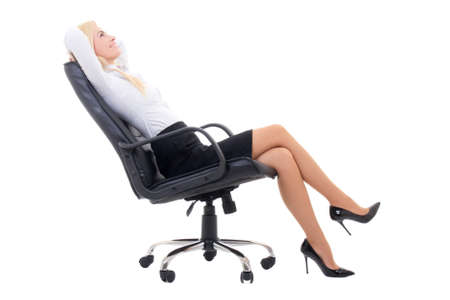 businesswoman suit: happy sexy business woman sitting on office chair isolated on white background