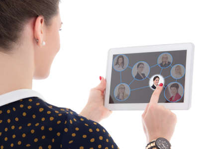 job search concept - woman pressing icons with people portraits on tablet pc isolated on white background photo
