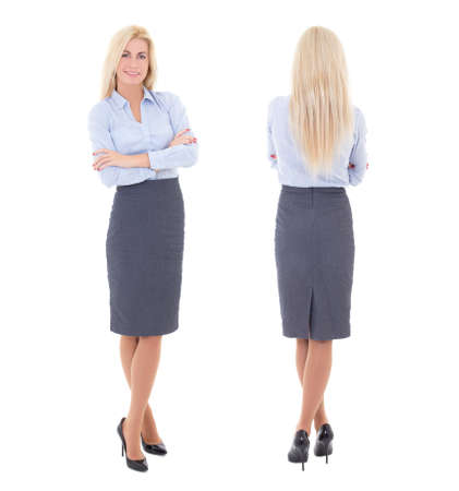 front and back view of young beautiful woman in business suit isolated on white background Фото со стока - 32004064