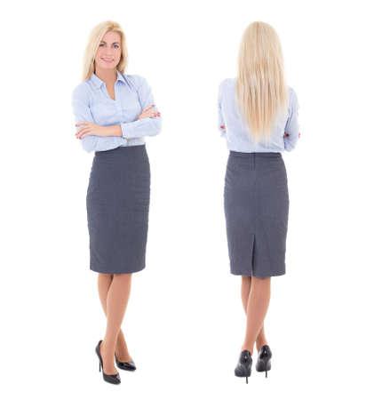 vista dianteira e traseira de mulher bonita no terno de negócio isolado no fundo branco