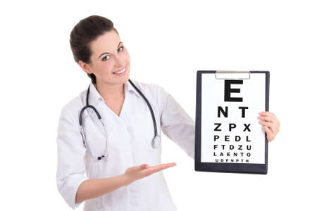 young female doctor ophthalmologist and eye test chart isolated on white background photo