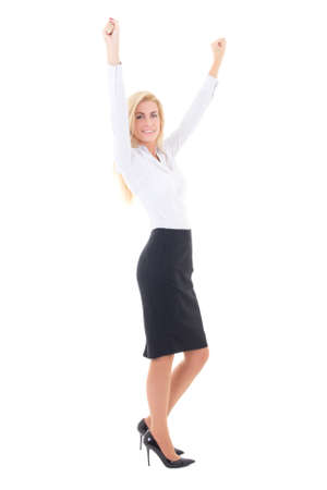 young business woman celebrating success full length isolated on white background photo