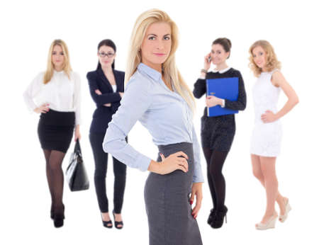 young attractive successful business women isolated on white background photo