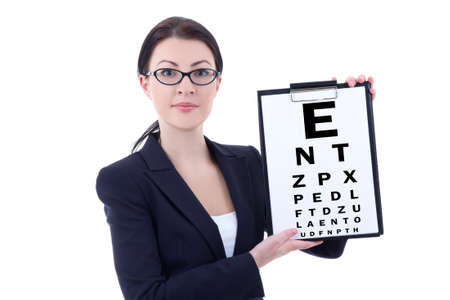 attractive business woman in eyeglasses with eye test chart isolated on white background photo
