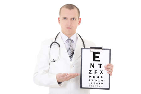 male doctor ophthalmologist and eye test chart isolated on white background photo