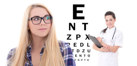 girl in eyeglasses, female doctor ophthalmologist and eye test chart isolated on white photo