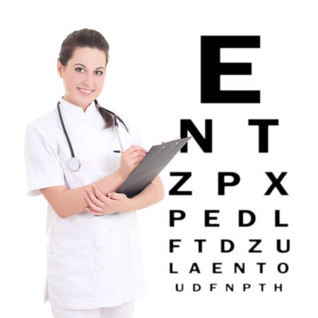 young female doctor ophthalmologist and eye test chart isolated on white photo