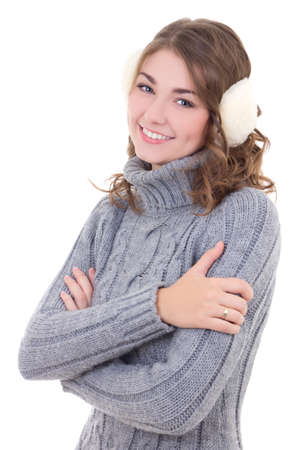 muff: attractive woman in woolen sweater and muffs isolated on white background