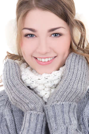 portrait of young beautiful woman in winter clothes photo